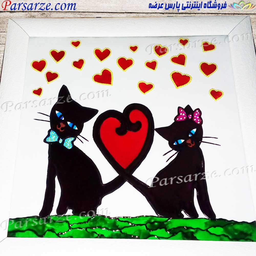 تابلو نقاشی ویترای طرح گربه های عاشق