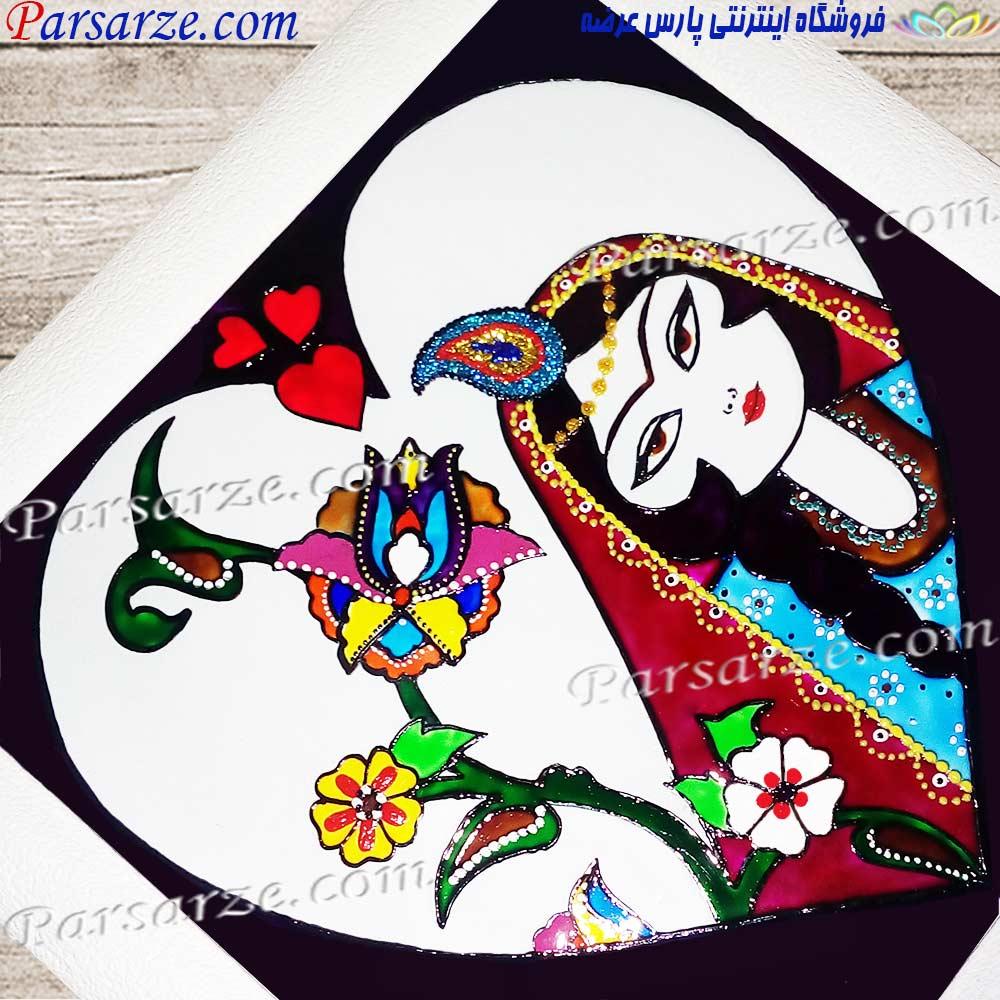 تابلوی نقاشی ویترای سفارشی روز مادر طرح سنتی ایرانی خاتون