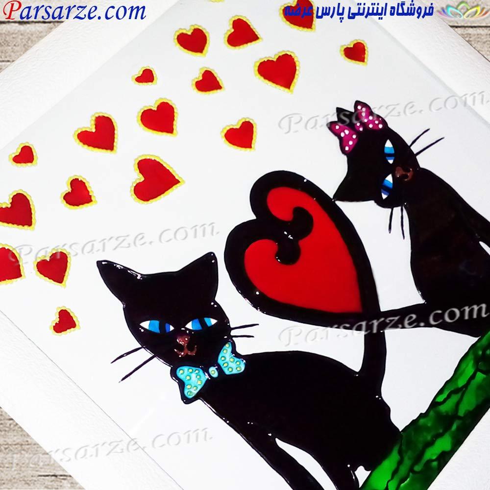 خرید اینترنتی کادو ولنتاین متفاوت تابلو نقاشی طرح گربه های عاشق